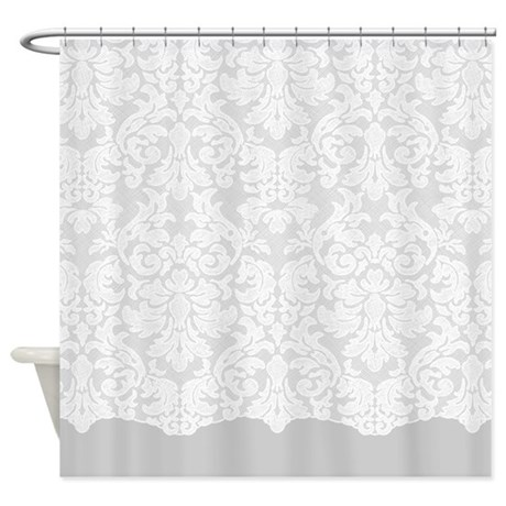 lace pattern white grey shower curtain by marshenterprises. Black Bedroom Furniture Sets. Home Design Ideas