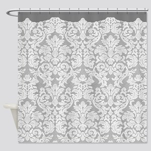 lace pattern - white gray Shower Curtain