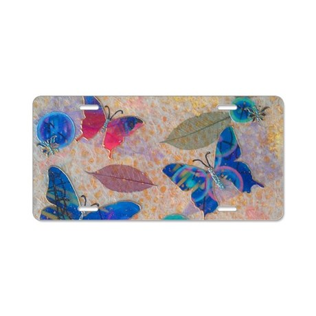 Butterflies On Yellow License Plate Aluminum Licen