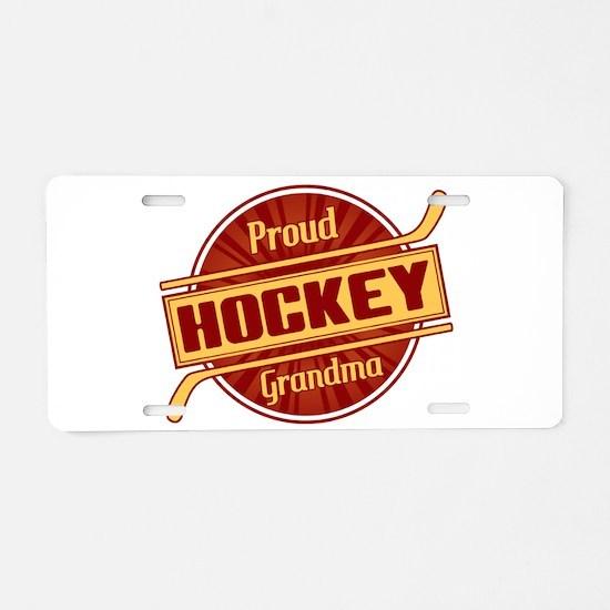 Proud Hockey Grandma Aluminum License Plate