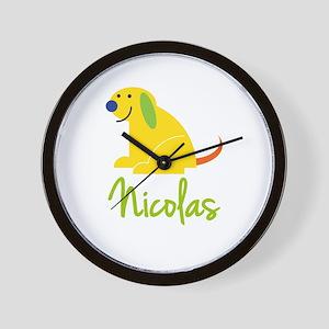 Nicolas Loves Puppies Wall Clock