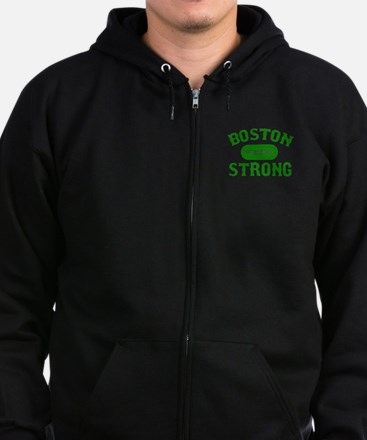 Boston Wicked Strong - Green Zip Hoodie