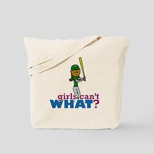 Girl Softball Player in Green Tote Bag