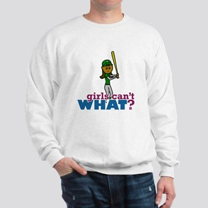 Girl Softball Player in Green Sweatshirt