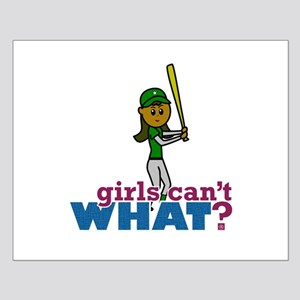Girl Softball Player in Green Small Poster