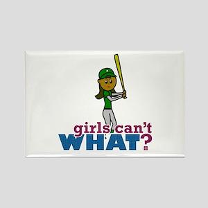 Girl Softball Player in Green Rectangle Magnet