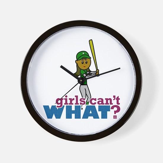 Girl Softball Player in Green Wall Clock