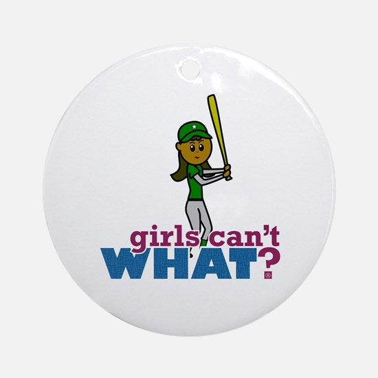 Girl Softball Player in Green Ornament (Round)