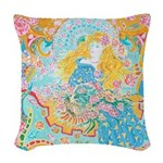 Art Nouveau Lady Woven Throw Pillow