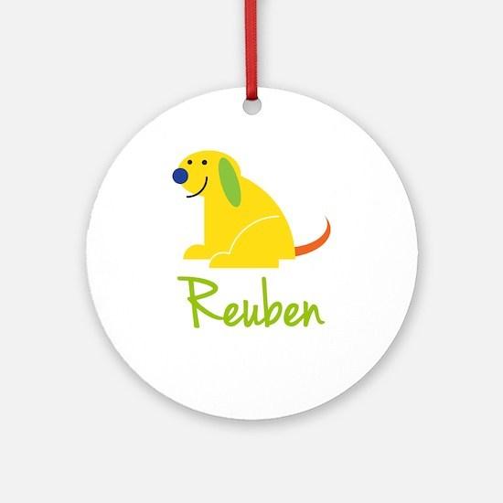 Reuben Loves Puppies Ornament (Round)