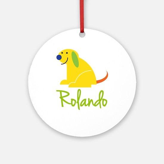 Rolando Loves Puppies Ornament (Round)