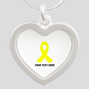 Yellow Ribbon Awareness Silver Heart Necklace