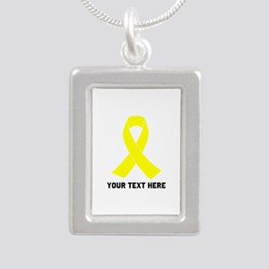 Yellow Ribbon Awareness Silver Portrait Necklace