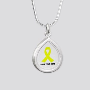 Yellow Ribbon Awareness Silver Teardrop Necklace