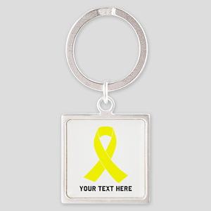 Yellow Ribbon Awareness Square Keychain