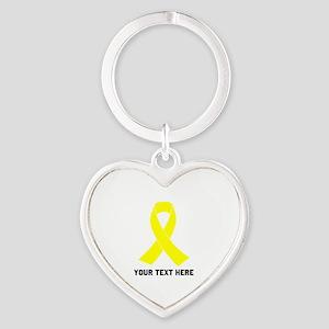 Yellow Ribbon Awareness Heart Keychain
