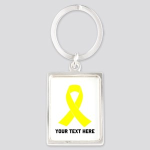 Yellow Ribbon Awareness Portrait Keychain