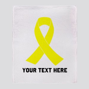Yellow Ribbon Awareness Throw Blanket