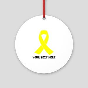 Yellow Ribbon Awareness Round Ornament
