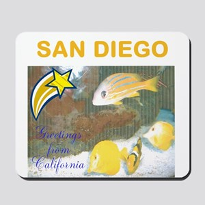 GREETINGS FROM SAN DIEGO, FISH. TWOSTARS. Mousepad