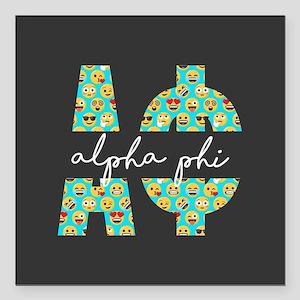 """Alpha Phi Letters Emoji Square Car Magnet 3"""" x 3"""""""