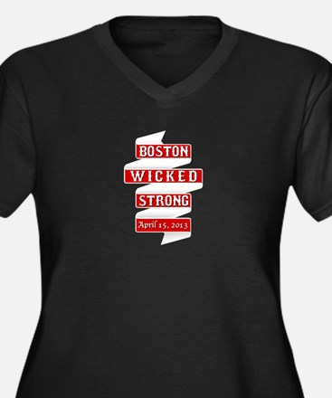 Boston Strong - Red Banner Plus Size T-Shirt