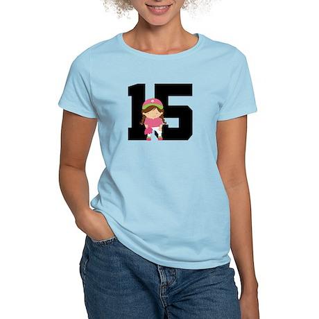 Softball Player Uniform Number 15 Women's Light T-