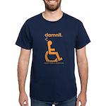damnit.wheelchair Navy/Orange Dark T-Shirt