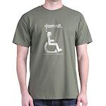 damnit.wheelchair Olive/White T-Shirt