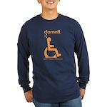 damnit.wheelchair Long Sleeve Navy/Orange T-Shirt