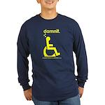 damnit.wheelchair Long Sleeve Navy/Yellow T-Shirt