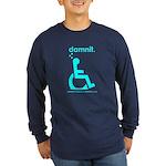 damnit.wheelchair Long Sleeve Navy/Cyan T-Shirt