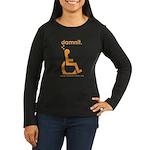 damnit.wheelchair Womens LongSleeve Black/Orange T