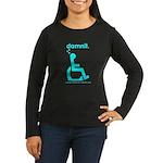 damnit.wheelchair Women's Long Sleeve Black/Cyan T