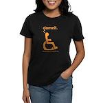 damnit.wheelchair Women's Black/Orange T-Shirt