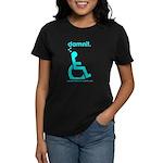 damnit.wheelchair Women's Black/Cyan T-Shirt