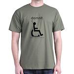 damnit.wheelchair Olive/Black T-Shirt