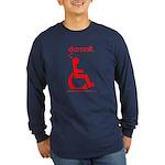 damnit.wheelchair Long Sleeve Navy/Red T-Shirt