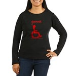 damnit.wheelchair Women's Long Sleeve Black/Red T