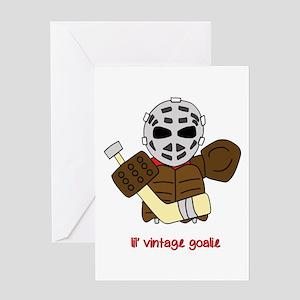 Lil Vintage Hockey Goalie Greeting Card