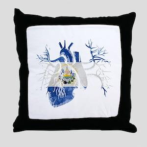 El Salvador Flag in Real heart Throw Pillow