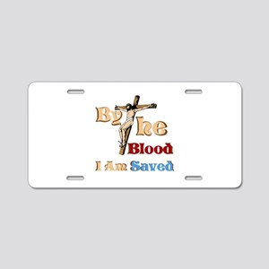 By The Blood Aluminum License Plate