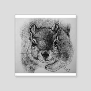 """Squrrel Sketch Square Sticker 3"""" x 3"""""""