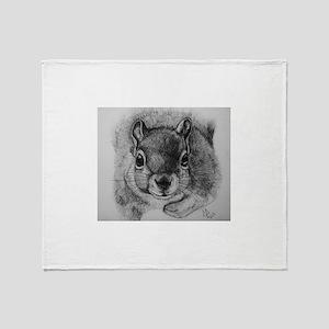 Squirrel Sketch Throw Blanket