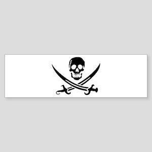 Jolly Roger white transparent Bumper Sticker