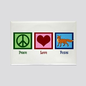 Peace Love Foxes Rectangle Magnet