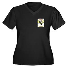 Chaigne Women's Plus Size V-Neck Dark T-Shirt