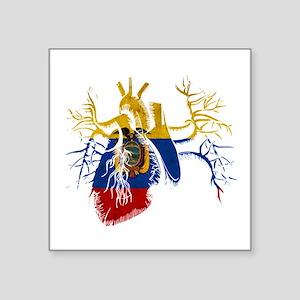 Ecuador Flag in Real heart Sticker