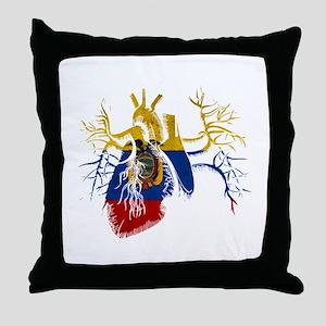Ecuador Flag in Real heart Throw Pillow
