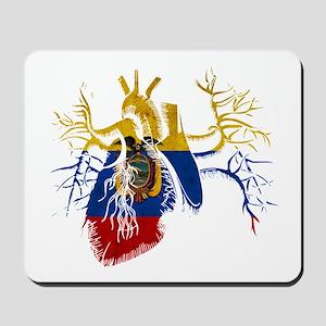 Ecuador Flag in Real heart Mousepad